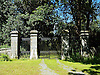Gates to Trawscoed Mansion. The founder of the modern estate was the parliamentarian and lawyer, Sir John Vaughan, who was made Chief Justice of the Common Pleas by Charles II. It was Sir John Vaughan who acquired from the Earl of Essex much of the former monastic lands of the Cistercian abbey Strata Florida. At the same time further land was added to the estate through his marriage to Jane Stedman, daughter of John Stedman of Ystrad Fflur and Cilcennin.<br /> <br /> Stock Photo by Paddy Bergin