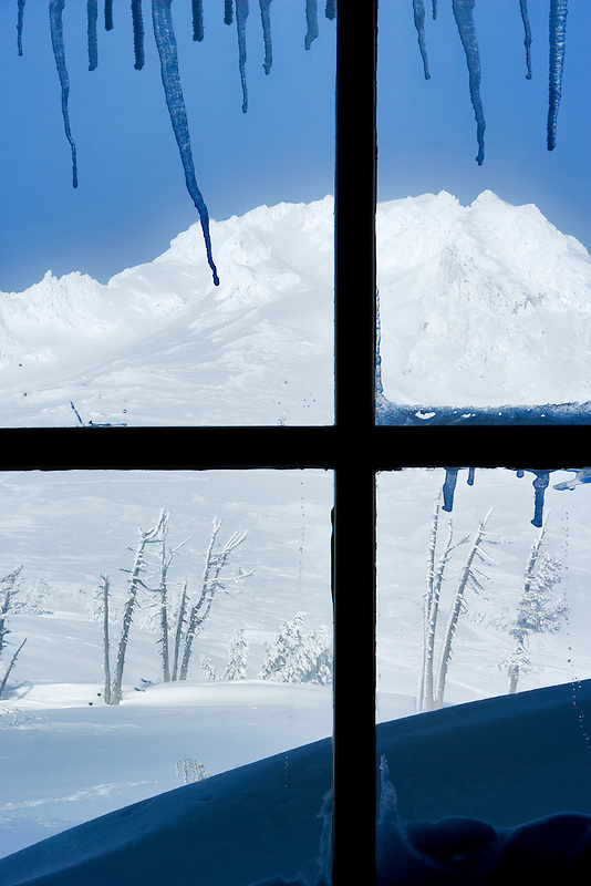View out window of Timberline Lodge with Mt. Hood, Oregon