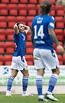 St Johnstone v St Mirren……29.08.20   McDiarmid Park  SPFL<br />Danny McNamara reacts to a his shot being tipped over the bar<br />Picture by Graeme Hart.<br />Copyright Perthshire Picture Agency<br />Tel: 01738 623350  Mobile: 07990 594431