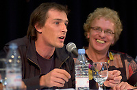 August 27,  2003, Montreal, Quebec, Canada<br /> <br /> Louis Belanger, director of the Montreal World Film Festival's opening movie GAZ BAR BLUES (L) and actor Serge Theriault (R) in a press conference, august 27 2003<br /> <br /> GAZ BAR BLUES Also plays the (Toronto Film ) FESTIVAL OF FESTIVALS, September 2003.<br /> <br /> <br /> <br /> <br /> The Festival runs from August 27th to september 7th, 2003<br /> <br /> <br /> Mandatory Credit: Photo by Pierre Roussel- Images Distribution. (©) Copyright 2003 by Pierre Roussel <br /> <br /> All Photos are on www.photoreflect.com, filed by date and events. For private and media sales