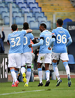 Football, Serie A: S.S. Lazio - Spezia, Olympic stadium, Rome, April 3, 2021. <br /> Lazio's Felipe Caisedo (second L) celebrates after scoring with his teammates during the Italian Serie A football match between S.S. Lazio and Spezia at Rome's Olympic stadium, Rome, on April 3, 2021.  <br /> UPDATE IMAGES PRESS/Isabella Bonotto