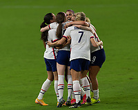 ORLANDO CITY, FL - FEBRUARY 18: Rose Lavelle #16 celebrates her goal with teammates during a game between Canada and USWNT at Exploria stadium on February 18, 2021 in Orlando City, Florida.