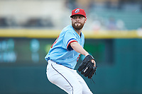 Columbus Clippers relief pitcher Jack Leathersich (27) in action against the Indianapolis Indians at Huntington Park on June 17, 2018 in Columbus, Ohio. The Indians defeated the Clippers 6-3.  (Brian Westerholt/Four Seam Images)