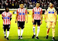 BARRANQUILLA – COLOMBIA – 17 – 01 - 2018: Yimmi Chara (Izq,) Teofilo Gutierrez (2 Izq.) Luis Diaz (2 Der.) y Sebastian Viera (Der.), durante presentación de nuevos jugadores del Atletico Junior, en la Liga Aguila I 2018, en el estadio Metropolitano Roberto Melendez, de la ciudad de Barranquilla. / Yimmi Chara (L) Teofilo Gutierrez (2 L) Luis Diaz (2 R) and Sebastian Viera (R), during the presentation of new players of Atletico Junior, in Liga Aguila I 2018, at the Roberto Melendez Metropolitan Stadium, in the city of Barranquilla. Photo: Alfonso Cervantes / Cont.