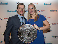 Amsterdam, Netherlands, December 12, 2016, Harbour Club, Tennisser van het Jaar,  Kiki Bertens recieves the Betty Stove trophy from FedCup captain Paul Haarhuis<br /> Photo: Tennisimages/Henk Koster