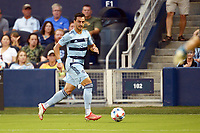 KANSAS CITY, KS - JULY 31: Luis Martins #36 Sporting KC with the ball during a game between FC Dallas and Sporting Kansas City at Children's Mercy Park on July 31, 2021 in Kansas City, Kansas.