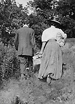 North East PA: Aunt Maggie and her husband going out on a picnic.  Margaret Stewart Gray was an Aunt of Brady Stewart and sister of Homer Stewart.  During the early 1900s, the Stewart family vacationed on Lake Erie near North East Pennsylvania. Since hotels and motels were non-existent, camping was the only viable option for a large number of vacationers