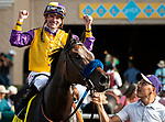 DEL MAR, CA: July 28: #4 Ollie's Candy with Kent Desormeaux wins the Grade I Clement L Hirsch Stakes at Del Mar Thoroughbred Club on July 28, 2019 in Del Mar, California (Photo by Chris Crestik/Eclipse Sportswire)