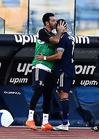 Football, Serie A: S.S. Lazio - Juventus Olympic stadium, Rome, November 8, 2020. <br /> Juventus' goalkeeper Gianluigi Buffon (l) greets his teammate Cristiano Ronaldo (r) after Cristiano leaves the pitch during the Italian Serie A football match between Lazio and Juventus at Olympic stadium in Rome, on November 8, 2020.<br /> UPDATE IMAGES PRESS/Isabella Bonotto