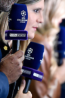 Journalist of Bein sport hold champions league microphones during the Uefa Champions League group B football match between AC Milan and Atletico Madrid at San Siro stadium in Milano (Italy), September 28th, 2021. Photo Andrea Staccioli / Insidefoto