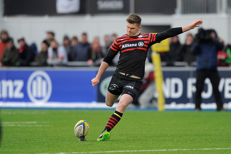 20130324 Copyright onEdition 2013©.Free for editorial use image, please credit: onEdition..Owen Farrell of Saracens takes a penalty kick during the Premiership Rugby match between Saracens and Harlequins at Allianz Park on Sunday 24th March 2013 (Photo by Rob Munro)..For press contacts contact: Sam Feasey at brandRapport on M: +44 (0)7717 757114 E: SFeasey@brand-rapport.com..If you require a higher resolution image or you have any other onEdition photographic enquiries, please contact onEdition on 0845 900 2 900 or email info@onEdition.com.This image is copyright onEdition 2013©..This image has been supplied by onEdition and must be credited onEdition. The author is asserting his full Moral rights in relation to the publication of this image. Rights for onward transmission of any image or file is not granted or implied. Changing or deleting Copyright information is illegal as specified in the Copyright, Design and Patents Act 1988. If you are in any way unsure of your right to publish this image please contact onEdition on 0845 900 2 900 or email info@onEdition.com