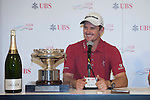 Justin Rose of England gives a press conference after his victory at UBS Hong Kong Open golf tournament at the Fanling golf course on 25 October 2015 in Hong Kong, China. Photo by Xaume Olleros / Power Sport Images
