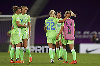 30th August 2020, San Sebastien, Spain;  Wolfsburg players dejected after losing the UEFA Womens Champions League football match Final between VfL Wolfsburg and Olympique Lyonnais 3-1