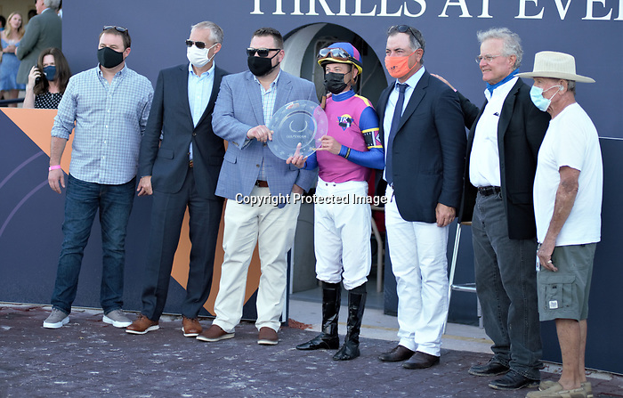 MARCH 27, 2021: #1 WAR LIKE GODDESS and Jockey Julien Leparoux triumph in the 56th running of the $100,000 Grade III Orchid Stakes for Trainer Bill Mott on Florida Derby Day at Gulfstream Park in Hallandale Beach, Florida on March 27, 2021. Carson Dennis/Eclipse Sportswire/CSM