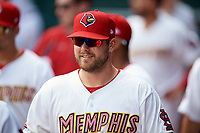 Memphis Redbirds Mitch Harris (40) in the dugout during a game against the Iowa Cubs on May 29, 2017 at AutoZone Park in Memphis, Tennessee.  Memphis defeated Iowa 6-5.  (Mike Janes/Four Seam Images)