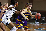 SIOUX FALLS, SD - MARCH 7: Grace Gilmore #21 of the Western Illinois Leathernecks drives into Jonaie Johnson #24 of the UMKC Kangaroos during the Summit League Basketball Tournament at the Sanford Pentagon in Sioux Falls, SD. (Photo by Richard Carlson/Inertia)