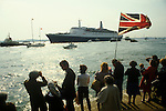 Falklands war Queen Elizabeth QE2 leaves Southampton dock for the Falklands Conflict, a flotilla of boats seeing her off May 1982 1980S UK