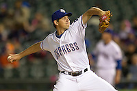 Round Rock Express pitcher Nick Tepesch #23 delivers a pitch to the plate against the Omaha Storm Chasers in the Pacific Coast League baseball game on April 4, 2013 at the Dell Diamond in Round Rock, Texas. Round Rock defeated Omaha in their season opener 3-1. (Andrew Woolley/Four Seam Images).