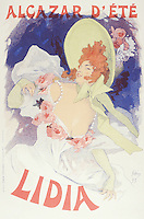 Reproduction of a poster advertising 'Lidia', at the Alcazar d'Ete, 1895 (colour litho), Cheret, Jules (1836-1932)