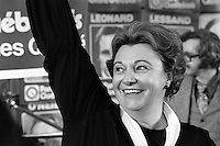 November 15, 1976 file photo - Montreal (QC) CANADA -<br />  Lise Payette wave onstage as the Parti Quebecois win the provincial 1976 election.
