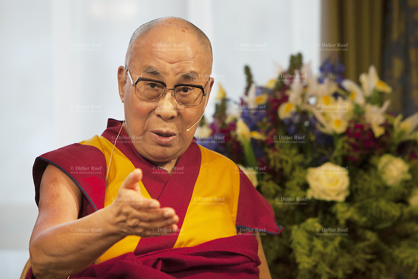 "Switzerland. Basel. His Holiness the Dalai Lama during a press conference at Grand Hotel Les Trois Rois. The 14th and current Dalai Lama is Tenzin Gyatso, recognized since 1950. He is the current Dalai Lama, as well as the longest-lived incumbent, well known for his lifelong advocacy for Tibetans inside and outside Tibet. Dalai Lamas are amongst the head monks of the Gelug school, the newest of the schools of Tibetan Buddhism. The Dalai Lama, also called "" Ocean of Wisdom"" is considered as the incarnation of Chenresi, the Bodhisattva of compassion who is also the protective deity of Tibet. 7.02.2015 © 2015 Didier Ruef"