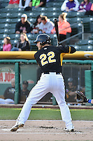 John Hester (22) of the Salt Lake Bees at bat against the Las Vegas 51s at Smith's Ballpark on May 8, 2014 in Salt Lake City, Utah.  (Stephen Smith/Four Seam Images)