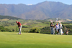 Ian Poulter (ENG) takes his putt on the 9th green as Lee Westwood (ENG) looks on during the morning session on Day 3 of the Volvo World Match Play Championship in Finca Cortesin, Casares, Spain, 21st May 2011. (Photo Eoin Clarke/Golffile 2011)