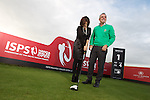 ISPS Handa Wales Open Announcement at the Celtic Manor Resort..Midori Miyazaki of new sponsor ISPS on the 1st tee of the Twenty Ten Course with former champion Paul McGinley..28.11.11.©Steve Pope