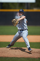 Catawba Indians relief pitcher Harris Jackson (14) in action against the Queens Royals during game one of a double-header at Tuckaseegee Dream Fields on March 26, 2021 in Kannapolis, North Carolina. (Brian Westerholt/Four Seam Images)