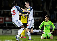 Bolton Wanderers' Ethan Hamilton (centre) celebrates scoring his side's second goal with team mate Joe Dodoo (left) as  Burton Albion's goalkeeper Ben Garratt looks on <br /> <br /> Photographer Andrew Kearns/CameraSport<br /> <br /> The Premier League - Leicester City v Aston Villa - Monday 9th March 2020 - King Power Stadium - Leicester<br /> <br /> World Copyright © 2020 CameraSport. All rights reserved. 43 Linden Ave. Countesthorpe. Leicester. England. LE8 5PG - Tel: +44 (0) 116 277 4147 - admin@camerasport.com - www.camerasport.com