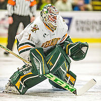 29 December 2014: University of Vermont Catamount Goaltender Mike Santaguida, a Sophomore from Mississauga, Ontario, in action during the first period against the Providence College Friars in the deciding game of the annual TD Bank-Sheraton Catamount Cup Tournament at Gutterson Fieldhouse in Burlington, Vermont. The Friars shut out the Catamounts 3-0 to win the 2014 Cup. Mandatory Credit: Ed Wolfstein Photo *** RAW (NEF) Image File Available ***