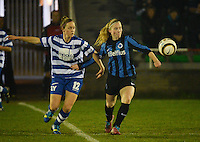 20140326 - AALTER , BELGIUM : Gent Pauline Windels (l) pictured with Brugge's Jana Coryn (r) during the soccer match between the women teams of Club Brugge Vrouwen  and AA Gent  Ladies , on the 21th matchday of the BeNeleague competition Friday 14 March 2014 in Aalter. PHOTO DAVID CATRY