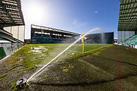 21st April 2021; Easter Road, Edinburgh, Scotland; Scottish Premiership Football, Hibernian versus Livingston;  Easter Road pitch with the sprinklers on ahead of kick off