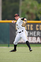 GCL Pirates left fielder Steven Kraft (6) throws from the outfield during the second game of a doubleheader against the GCL Yankees East on July 31, 2018 at Pirate City Complex in Bradenton, Florida.  GCL Pirates defeated GCL Yankees East 12-4.  (Mike Janes/Four Seam Images)