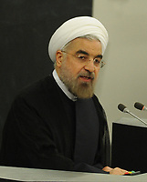 SMG_Iranian President Hassan Rouhani_NY1_Global Initiative_092513_20.JPG<br /> <br /> NEW YORK, NY - SEPTEMBER 24:  Iranian President Hassan Rouhani addresses the U.N. General Assembly on September 24, 2013 in New York City. Over 120 prime ministers, presidents and monarchs are gathering this week for the annual meeting at the temporary General Assembly Hall at the U.N. headquarters while the General Assembly Building is closed for renovations.  (Photo By Storms Media Group) <br /> <br /> People:  Iranian President Hassan Rouhani<br /> <br /> Transmission Ref:  NY1<br /> <br /> Must call if interested<br /> Michael Storms<br /> Storms Media Group Inc.<br /> 305-632-3400 - Cell<br /> 305-513-5783 - Fax<br /> MikeStorm@aol.com<br /> www.StormsMediaGroup.com