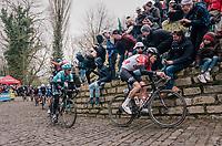 Tiesj Benoot (BEL/Lotto-Soudal) up the Kapelmuur /Muur van Geraardsbergen<br /> <br /> 102nd Ronde van Vlaanderen 2018 (1.UWT)<br /> Antwerpen - Oudenaarde (BEL): 265km