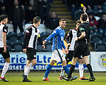 St Mirren v St Johnstone…26.12.18…   St Mirren Park    SPFL<br />Ref Kevin Clancy books Ross Callachan for diving in the box<br />Picture by Graeme Hart. <br />Copyright Perthshire Picture Agency<br />Tel: 01738 623350  Mobile: 07990 594431
