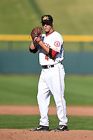 Mesa Solar Sox pitcher Trevor Gott (44) during an Arizona Fall League game against the Surprise Saguaros on October 17, 2014 at Cubs Park in Mesa, Arizona.  Mesa defeated Mesa 5-3.  (Mike Janes/Four Seam Images)