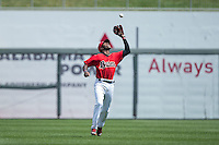 Birmingham Barons shortstop Tim Anderson (7) catches a pop fly in shallow center field during the game against the Tennessee Smokies at Regions Field on May 4, 2015 in Birmingham, Alabama.  The Barons defeated the Smokies 4-3 in 13 innings. (Brian Westerholt/Four Seam Images)