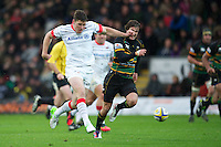 20121027 Copyright onEdition 2012©.Free for editorial use image, please credit: onEdition..Joel Tomkins of Saracens kicks the loose ball ahead during the Aviva Premiership match between Northampton Saints and Saracens at Franklin's Gardens on Saturday 27th October 2012 (Photo by Rob Munro)..For press contacts contact: Sam Feasey at brandRapport on M: +44 (0)7717 757114 E: SFeasey@brand-rapport.com..If you require a higher resolution image or you have any other onEdition photographic enquiries, please contact onEdition on 0845 900 2 900 or email info@onEdition.com.This image is copyright the onEdition 2012©..This image has been supplied by onEdition and must be credited onEdition. The author is asserting his full Moral rights in relation to the publication of this image. Rights for onward transmission of any image or file is not granted or implied. Changing or deleting Copyright information is illegal as specified in the Copyright, Design and Patents Act 1988. If you are in any way unsure of your right to publish this image please contact onEdition on 0845 900 2 900 or email info@onEdition.com