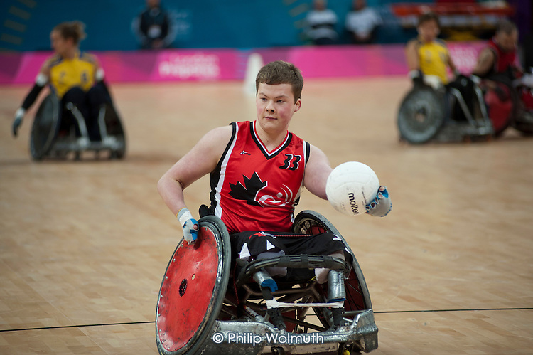 Canada plays Sweden in the London International Invitational Wheelchair Rugby Tournament in the Basketball Arena of the Olympic Park, London.