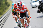 The breakaway group featuring Sean De Bie (BEL) Lotto-Soudal, Muhammet Atalay (TUR) Torku Sekerspor and Valerio Agnoli (ITA) Astana Pro Team during Stage 7 of the 2015 Presidential Tour of Turkey running 166km from Selcuk to Izmir. 2nd May 2015.<br /> Photo: Tour of Turkey/Mario Stiehl/www.newsfile.ie