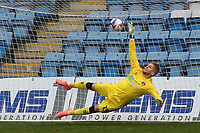 Charlton goalkeeper, Ben Amos, just fails to stop Jordan Graham scoring Gillingham's first goal from the penalty spot during Gillingham vs Charlton Athletic, Sky Bet EFL League 1 Football at the MEMS Priestfield Stadium on 21st November 2020