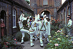 The Mock Mayor of Ock Street, Morris dance team perform there traditional dane for residents of the local alms house.  Abingdon Oxfordshire. 1970s UK