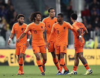 International friendly football match Italy vs The Netherlands, Allianz Stadium, Turin, Italy, June 4, 2018. <br /> Netherlands' Nathan Aké (second from left) celebrates with his teammates after scoring during the international friendly football match between Italy and The Netherlands at the Allianz Stadium in Turin on June 4, 2018.<br /> UPDATE IMAGES PRESS/Isabella Bonotto