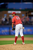 Williamsport Crosscutters relief pitcher Gustavo Armas (46) looks in for the sign during a game against the Mahoning Valley Scrappers on July 8, 2017 at BB&T Ballpark at Historic Bowman Field in Williamsport, Pennsylvania.  Williamsport defeated Mahoning Valley 6-1.  (Mike Janes/Four Seam Images)