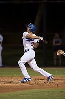 AZL Dodgers first baseman Aaron Ackerman (9) follows through on his swing during an Arizona League game against the AZL White Sox at Camelback Ranch on July 3, 2018 in Glendale, Arizona. The AZL Dodgers defeated the AZL White Sox by a score of 10-5. (Zachary Lucy/Four Seam Images)