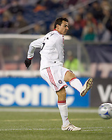 Chicago Fire midfielder Marco Pappa (16) shoots. The New England Revolution tied the Chicago Fire, 0-0, at Gillette Stadium on October 17, 2009.