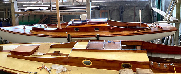Glenariff and Glenosiros – both from the Dun Laoghaire fleet – in the final stages of restoration in Ardglass