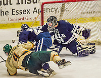 4 January 2014:  Yale University Bulldog goaltender Alex Lyon, a Freshman from Baudette, MN, makes an overtime save against the University of Vermont Catamounts at Gutterson Fieldhouse in Burlington, Vermont. With an empty net and seconds remaining, the Cats came back to tie the game 3-3 against the 10th seeded Bulldogs. Mandatory Credit: Ed Wolfstein Photo *** RAW (NEF) Image File Available ***